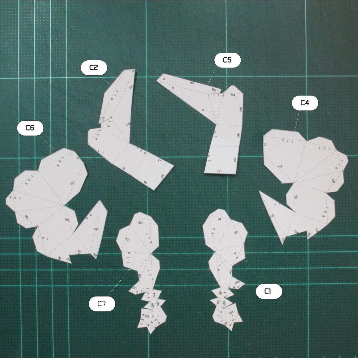 วิธีทำโมเดลกระดาษคุกกี้รันจิ้งจอกเก้าหางในร่างหมาจิ้งจอก (Cookie Run Ninetails Fox Form Papercraft Model) 009