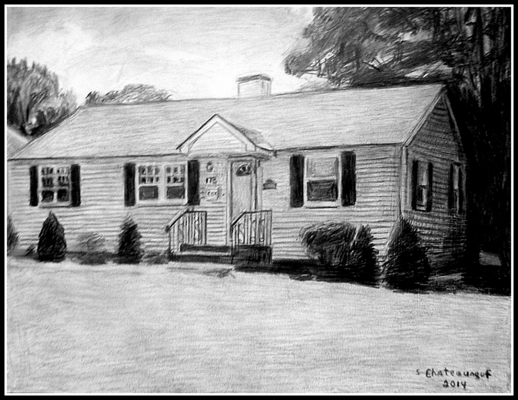 A pencil drawing of a house in lowell ma drawn by stev flickr