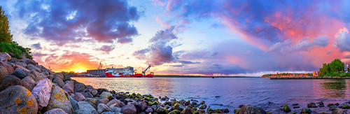 beautifulview burningsky clouds flensburg glowingsky landscape nature panorama sky spring stone stones sun sundown sunny sunset water waterscape