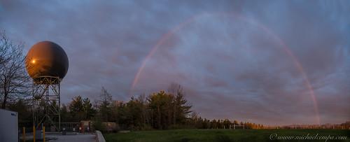 sky weather clouds sunrise rainbow pano maine may radome 2014 88d