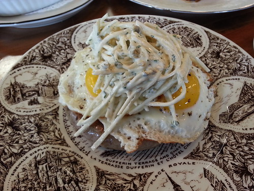 Zampini with fried egg and celeriac remoulade | by foodguymontreal