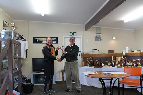 Jeff Coffin, winner of the Winter Series being presented Whiting Cup by Will Perry | by PLSC (Panmure Lagoon Sailing Club)