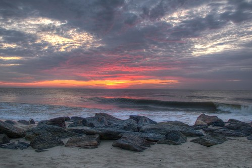2014 summer dawn sunrise beach clouds atlantic ocean wave waves water rocks jetty sand sun surf monmouthbeach monmouth countynew jersey nj og hdr cloudy