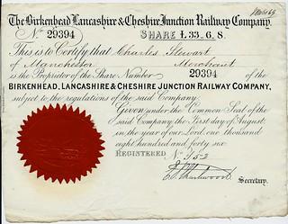 Birkenhead Lancashire & Cheshire Junction Railway share certificate 1846 | by ian.dinmore
