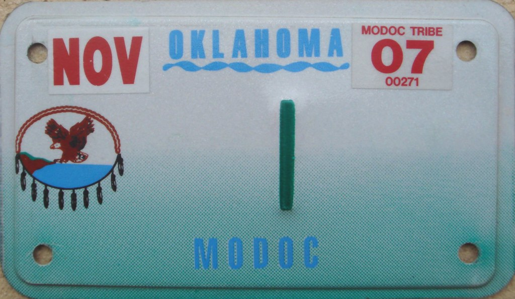 Modoc Tribe Motorcycle License Plate | Oklahoma  One (rear) … | Flickr