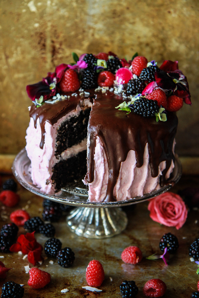 Chocolate Coconut Raspberry Cake- Vegan and Gluten Free from HeatherChristo.com