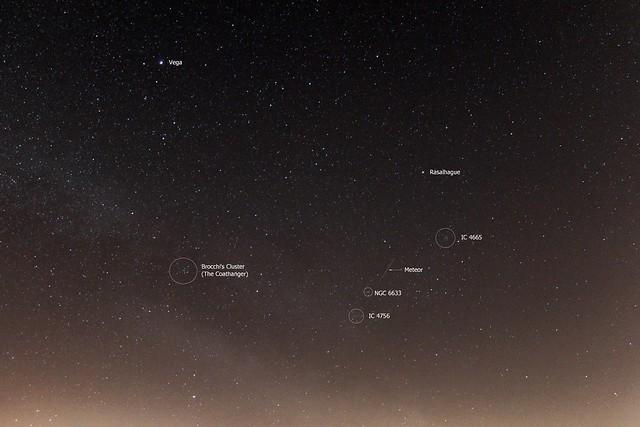 Meteor & Open Clusters 01:46 BST 21/04/17