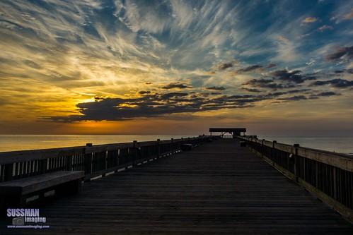 sky beach clouds sunrise georgia pier unitedstates tybeeisland savannah atlanticocean chathamcounty thesussman sonyslta77 sussmanimaging