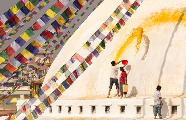 Morning rituals at Bodhnath Stupa