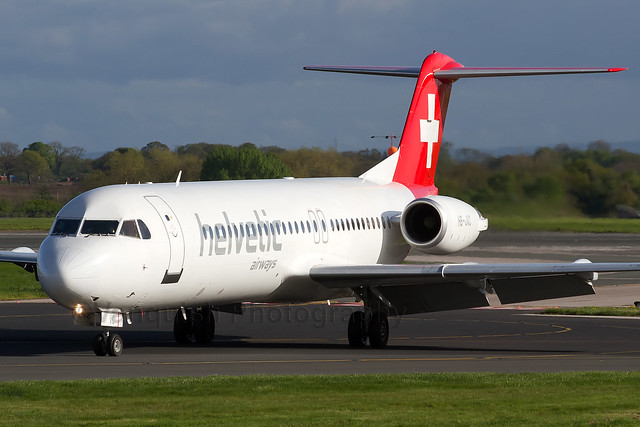 HB-JVC Helvetic Airways F100 Manchester Airport