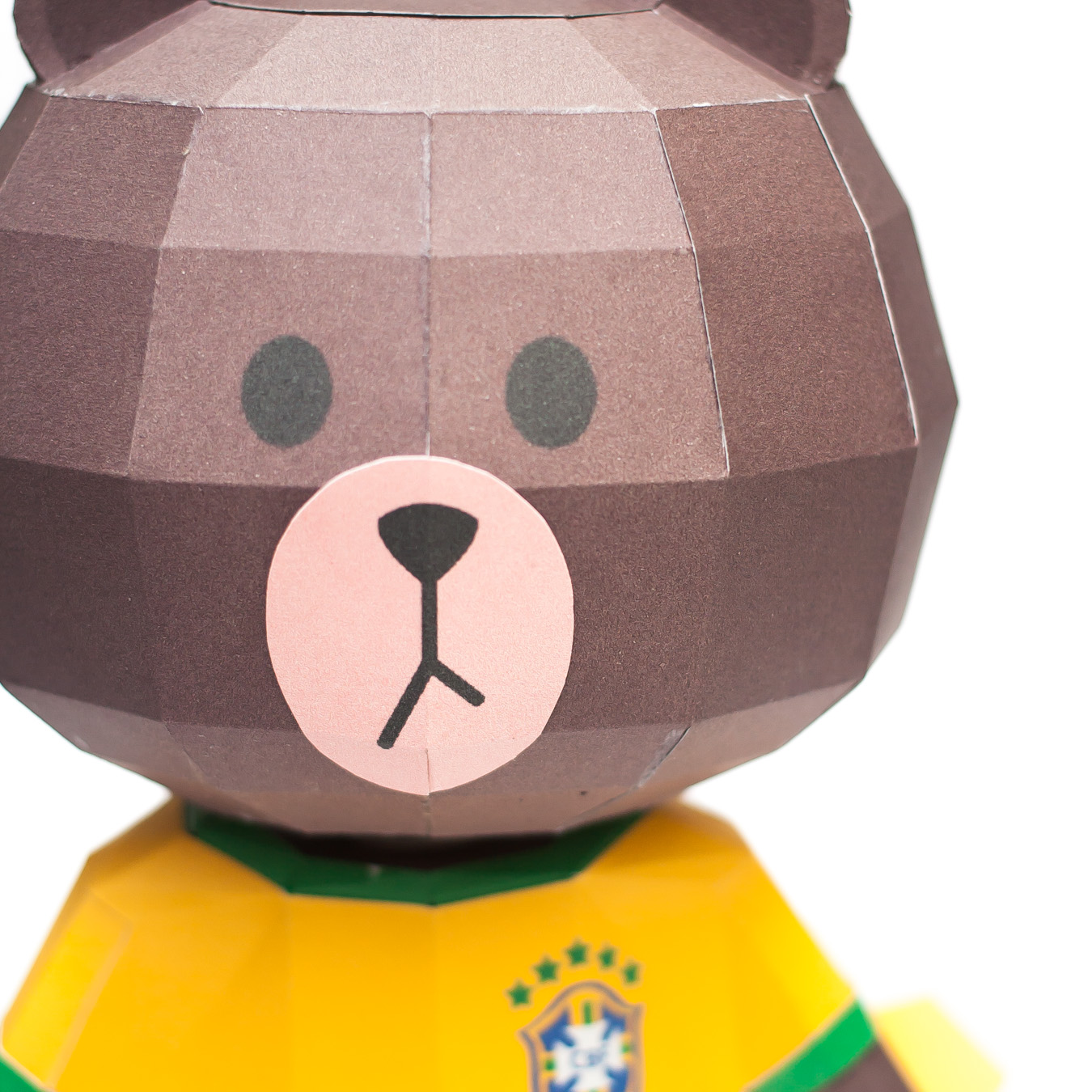 LINE Brown Bear in FIFA World Cup 2014 Brazil Uniform Papercraft Model Finished 002