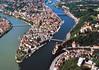 Letecký pohled na Pasov, foto: Tourismusverband Ostbayern
