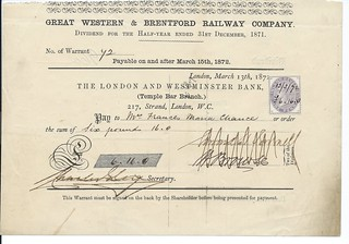 Great  Western and Brentford Railway Dividend Warrant 1871 1 | by ian.dinmore