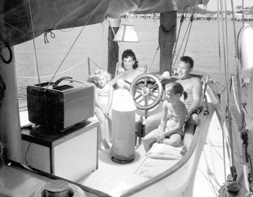 Family watching TV on their boat - Fort Lauderdale | by State Library and Archives of Florida