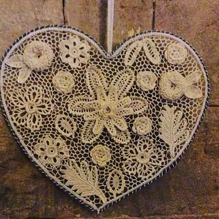 Heart shaped Irish crochet suncatcher.