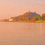 A painterly Ayeyarwady river scene between Mandalay and Bagan.......so many Pagodas!