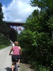 margaret and bridge on bike trail