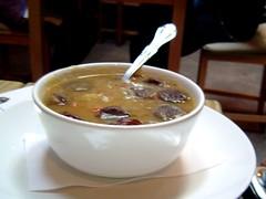 potato soup with a sausage