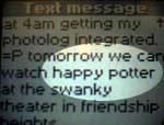 Text message with the words Happy Potter