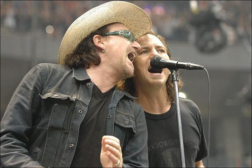 Bono and Eddie Vedder at a Pearl Jam Concert