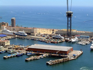 Port Vell and Platja de Sant Sebastia from cross-harbour cable car | by Ruth and Dave