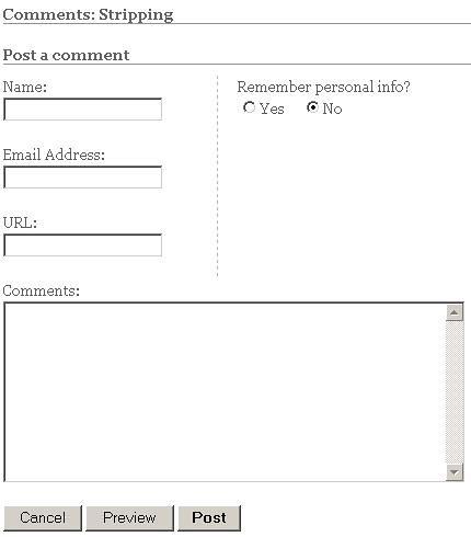 generic blog comment form