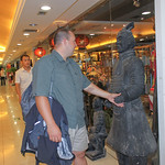 Shaking Hands with an Imitation Terracotta Warrior in the Silk Market