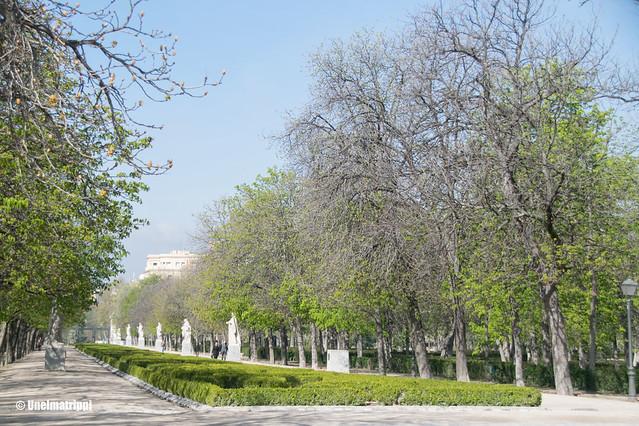 Pitkä puistokäytävä Retiron puistossa