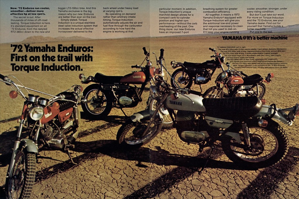 1972 Yamaha AT2-125, DT2-250, CT2-175, JT2-80, LT2-100 and… | Flickr