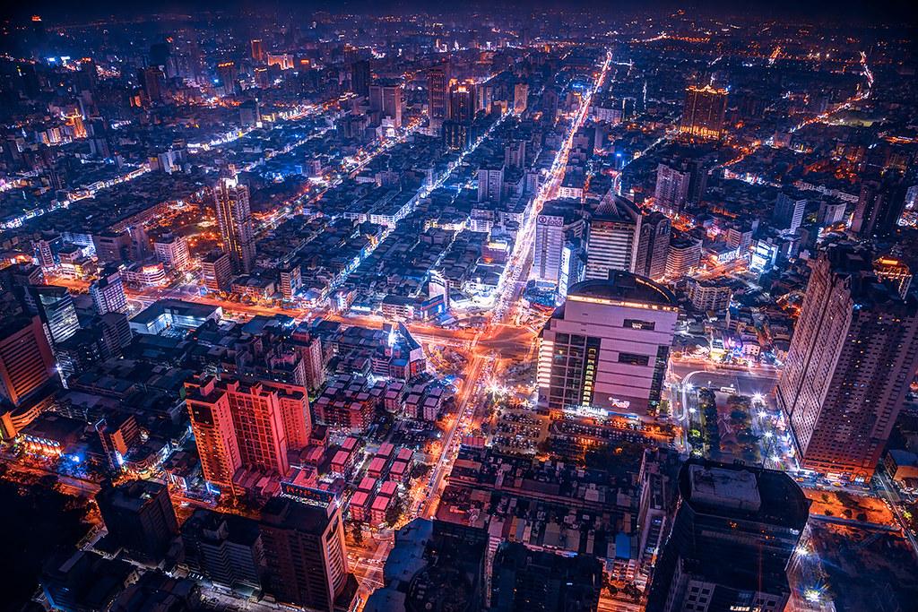 Taiwan. Night Kaoshiung, Kaohsiung, 高雄