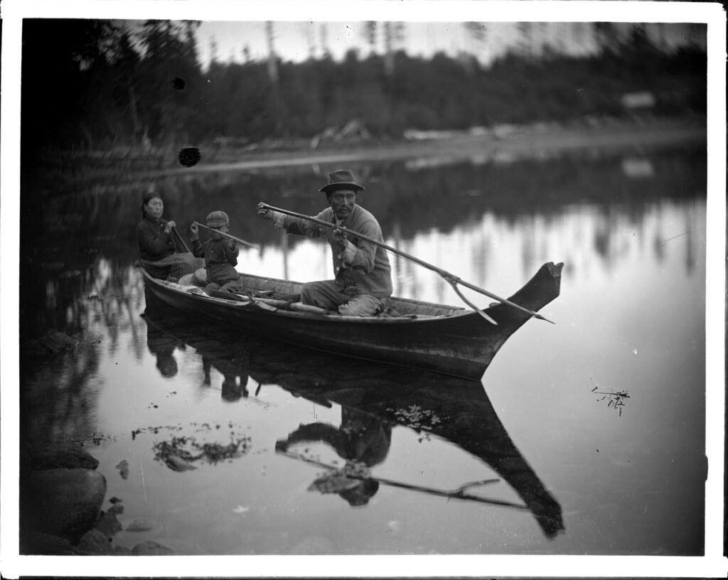Kwakiutl family in canoe VPL 14059