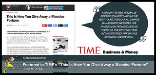 """June 6, 2014: Featured in TIME's """"This Is How You Give Away a Massive Fortune"""" 