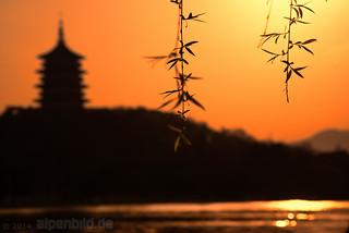 Leifeng Pagoda at Sunset by alpenbild.de