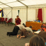 Prostrating to the Buddha during our refuge ceremony
