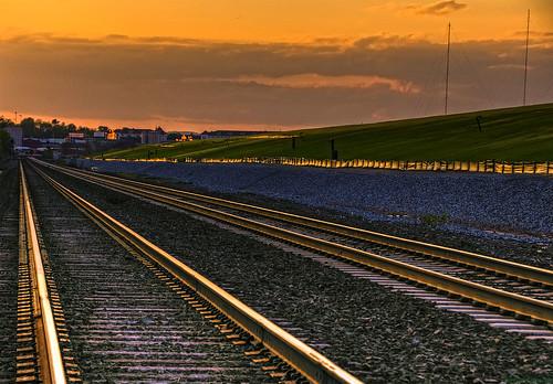 road sunset reflection colors train ties tracks rail rr hdr onone ballast glisten