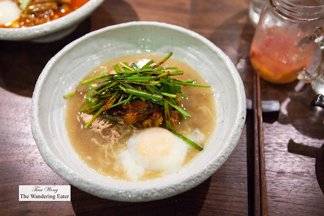 Chicken soup ramen (an ode to the Korean dish, samgyetang) topped with a poached egg