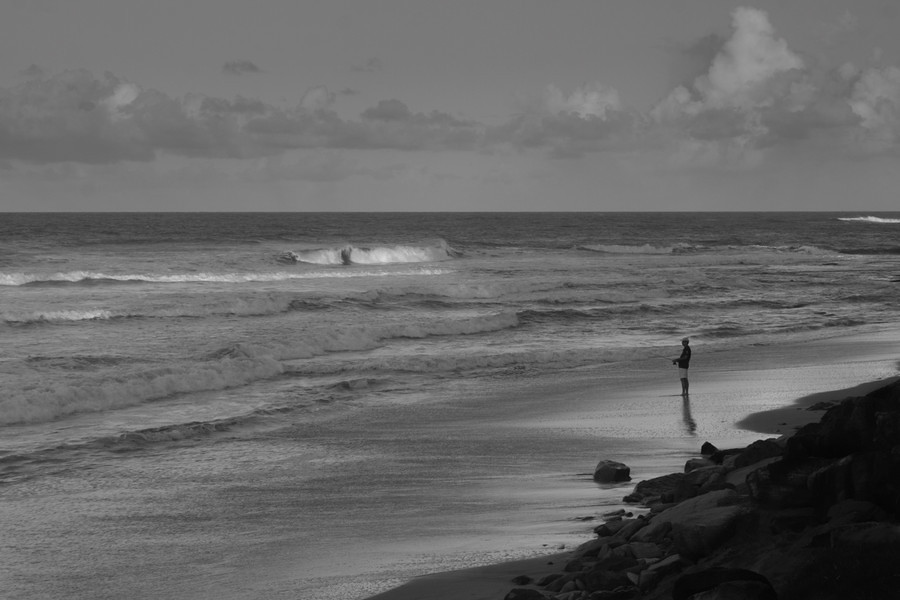 A Fisherman In Caloundra In BW