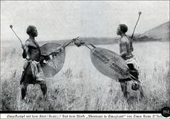 Swasiland - Einzelkampf mit dem Kirri (Keule), Swazi warriors, 1926