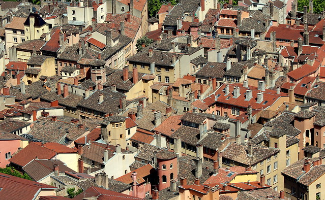 Lyon old district roofs