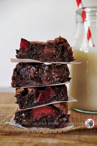 Extra Virgin Olive Oil Brownies With Fresh Cherries & Dark Chocolate Chunks | by jamieanne