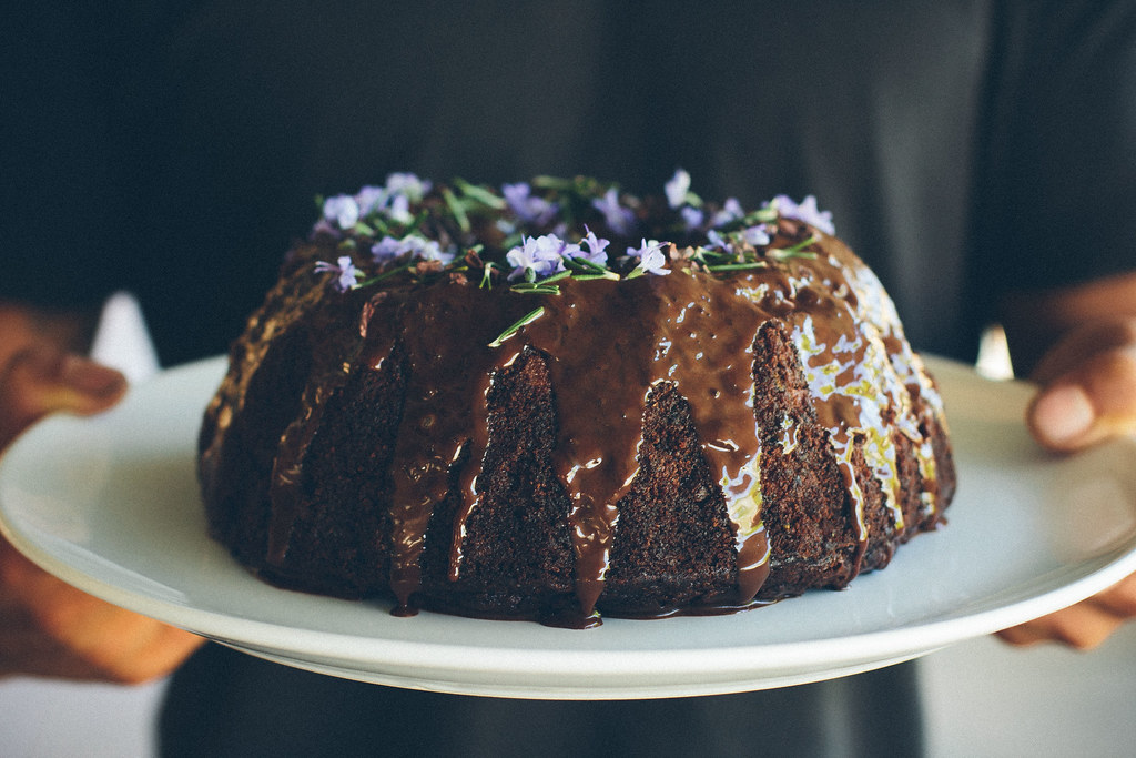 Dark chocolate, pear + rosemary cake {gluten + Dairy-free}
