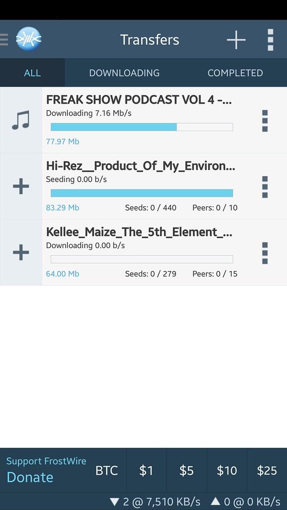 frostwire 1.3.0 build 127 transfers screenshot