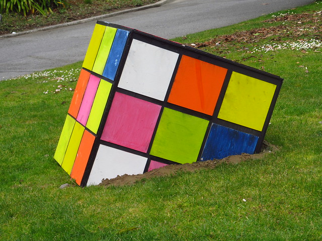 BIG Rubik's Cube in Grass