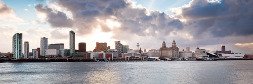 Liverpool Skyline At Sunrise From Seacombe Liverpool