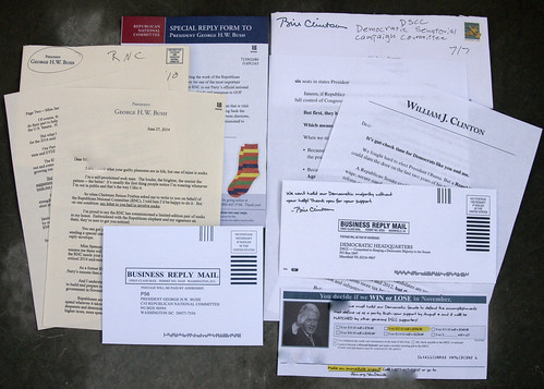 Junk mail from George W. Bush and Bill Clinton   by Judith E. Bell