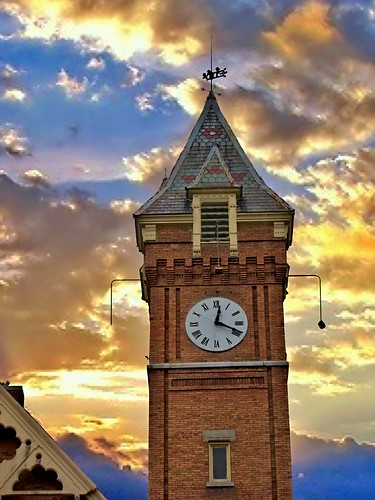 """york travel sunset sky ny building tower clock church architecture clouds town us district united small gothic historical methodist marcellus """"new """" nrhp onasill """"onondaga county""""village"""