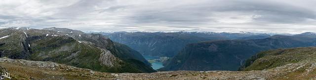 Berdalsfjellet - view towards Lustrafjord