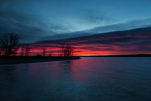 landscape lakescape seascape lake water reflections sunrise dawn daybreak lakechatfield colorado blue silhouette tree