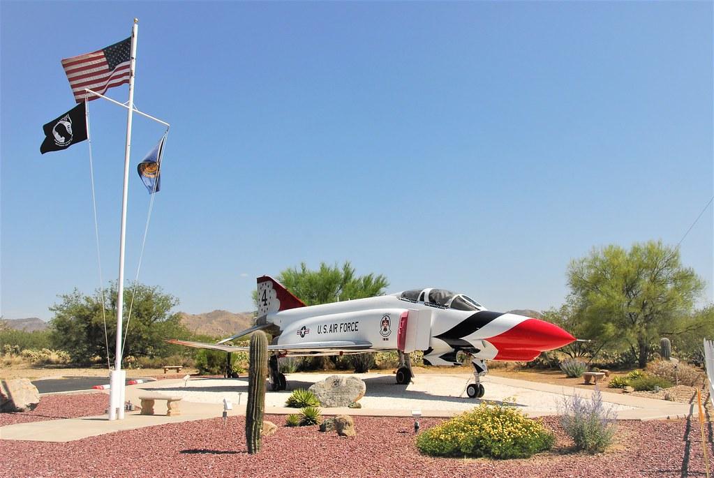F-4E Phantom-II 66-0294/4 ex USAF. Thunderbirds c/s. Preserved at Veterans Memorial, Corona de Tucson, Arizona. 04-06-2016.