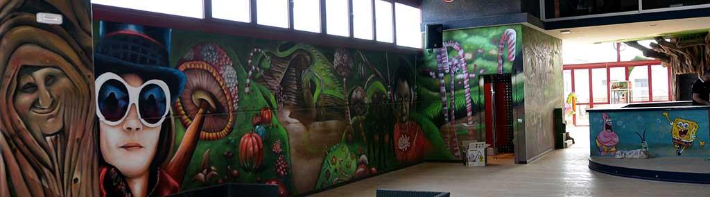 Decoración Mural Willy Wonka Decoración Pintura Mural Y G